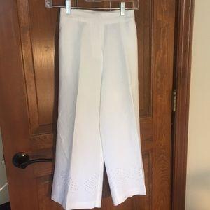 White Linen, lined capri dress pants